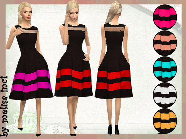 The Sims Resource: Colorblock Stripe Fit Flare Dress by melisa inci