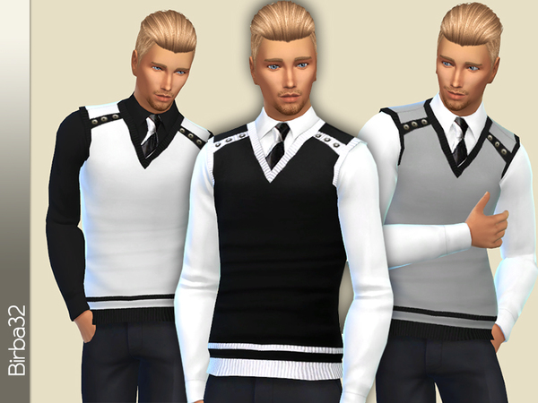 The Sims Resource: Shirt and gilet by Birba32
