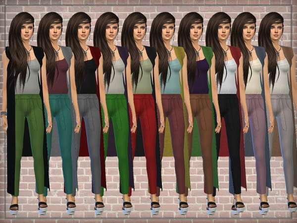 The Sims Resource: Designer Outfit (Jumpsuit) with Long Cardigan by DarkNighTt