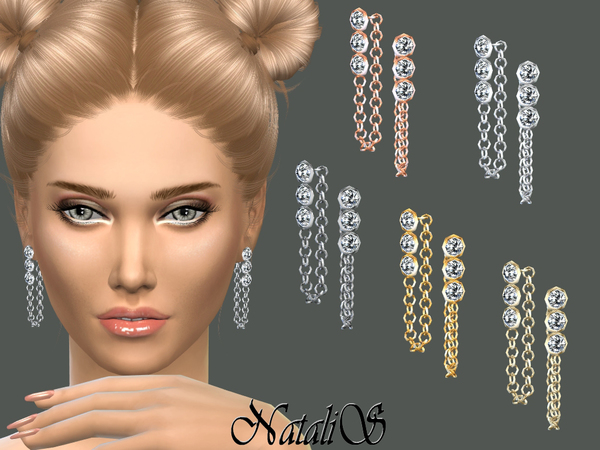 The Sims Resource: Crystals and Chain Drop Earrings by NataliS