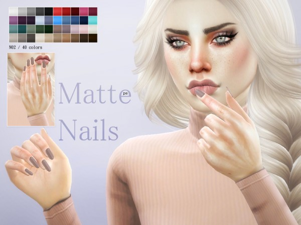 The Sims Resource: Matte Nails N02 by Pralinesims