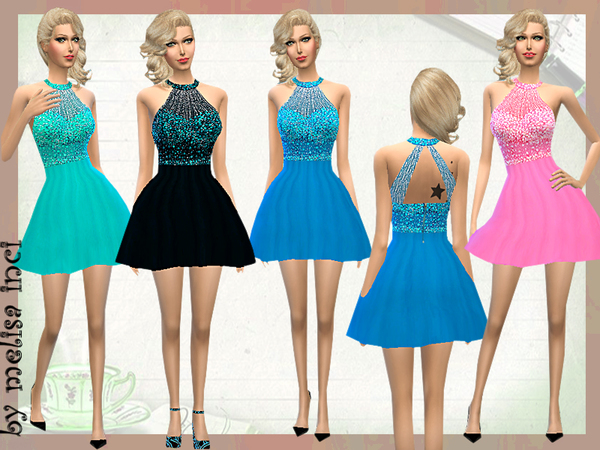 The Sims Resource: Short Embellished DresS by Melissa Inci
