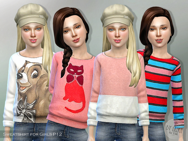 The Sims Resource: Printed Sweatshirt for Girls P12 by lillka