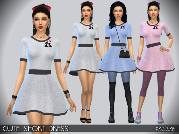 The Sims Resource: Cute Short Dress by Paogae