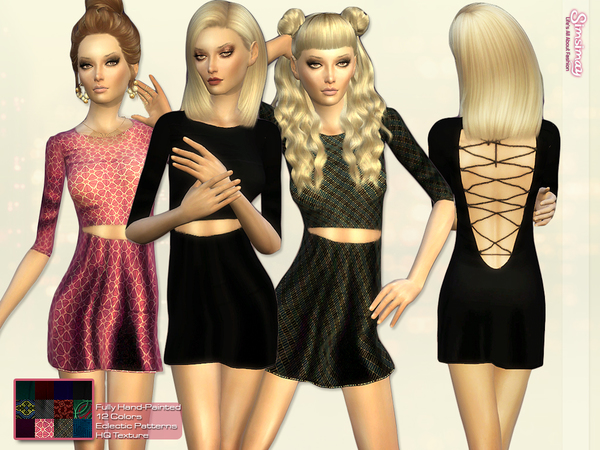 The Sims Resource: Open Back Lace up Minimal Dress by Simsimay