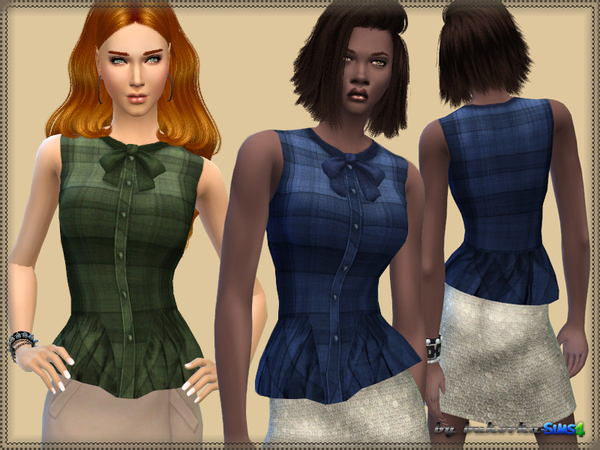 The Sims Resource: Plaid Blouse by bukovka
