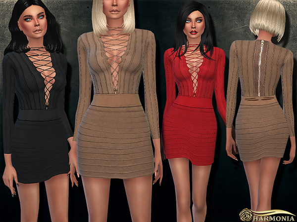 The Sims Resource: Lace up Stretch Viscose Knit Dress by Harmonia