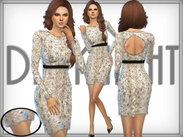 The Sims Resource: Embellished Lace Dress by DarkNighTt