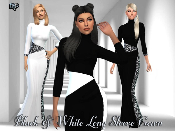 The Sims Resource: MP Black and White Long Sleeve Gown by MartyP