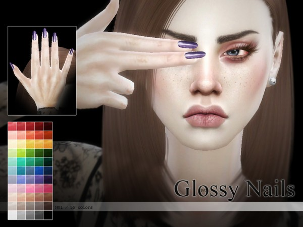The Sims Resource Glossy Nails N01 By Pralinesims Sims