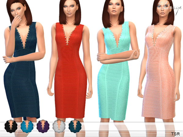 The Sims Resource: Studded Detail Dress by ekinege