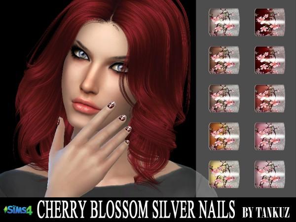 Tankuz: Cherry Blossom Silver Nails