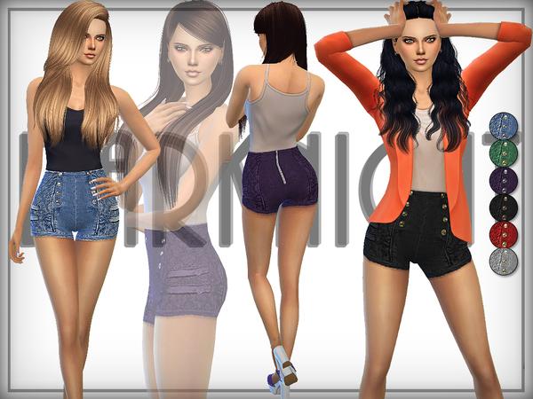 The Sims Resource: Denim High Waist Shorts by DarkNighTt