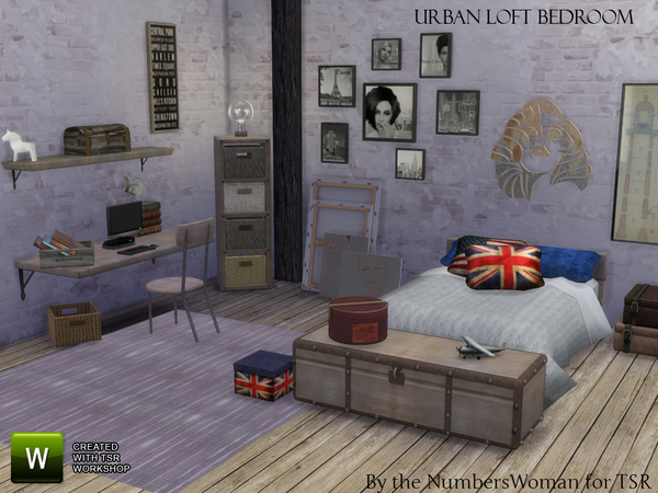 The Sims Resource: Urban Loft Bedroom by TheNumbersWoman