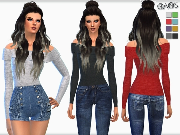 The Sims Resource: Off Shoulder Sweaters by OranosTR
