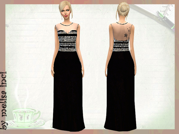 The Sims Resource: Crystal Embellished Crepe Gown by melisa inci