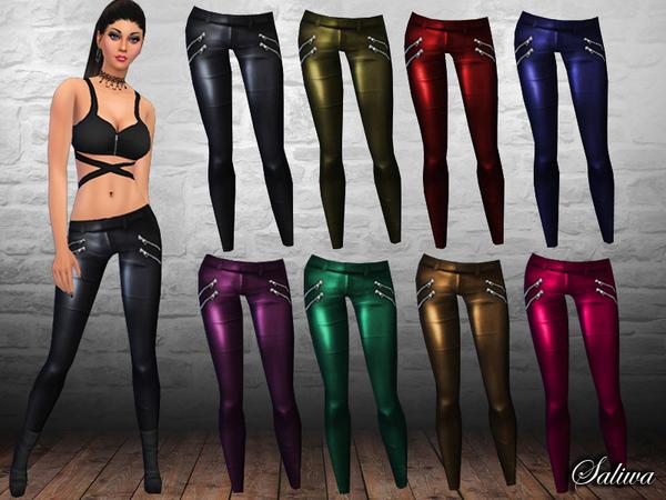 The Sims Resource: Ladies Leather Skinny Pants by Saliwa