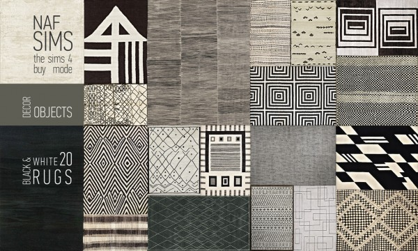 Mod The Sims: Black & White Rug Collection by nafSims