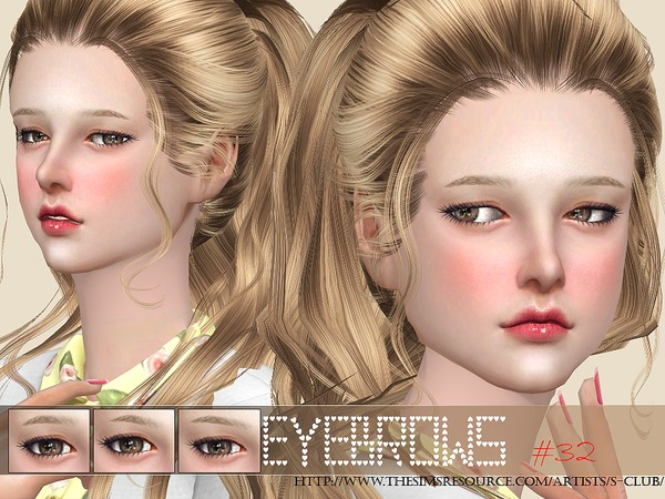 The Sims Resource: Eyebrows 32 F by S Club