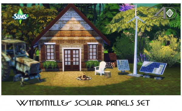 Sims 4 Designs: Windmill and Solar Panels Set