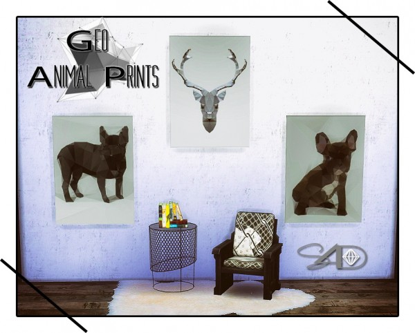 Sims 4 Designs: Geo Animals Prints