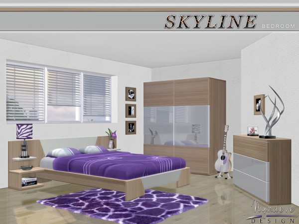 The sims resource skyline bedroom by nynaeve design for Cityscape bedroom ideas
