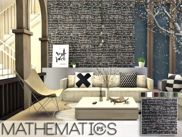 The Sims Resource: Mathematics walls by Pralinesims