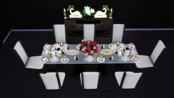 Sanjana Sims: Modern Dining Set with Functional Dinnerware for Sims 4