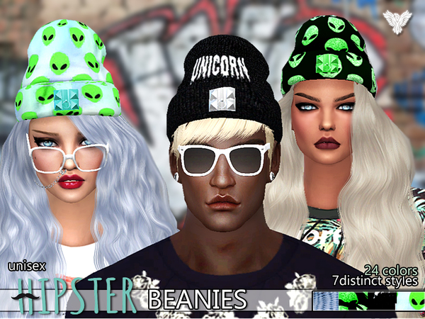 The Sims Resource: Hipster Fantasy Beanies Pack by pinkzombiecupcake