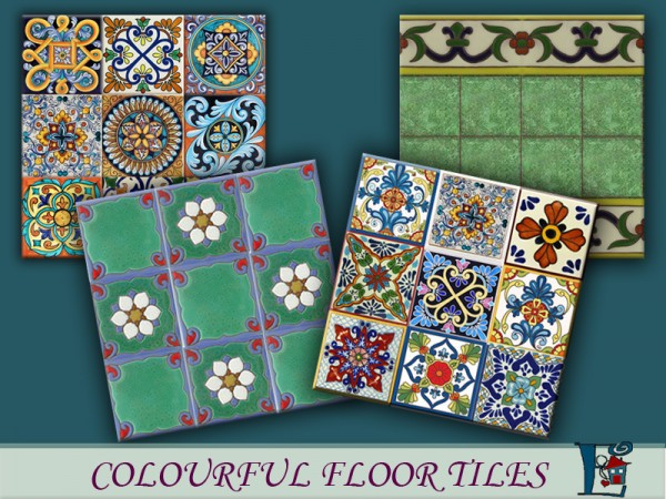 The Sims Resource: Colorful floor tiles by Evi