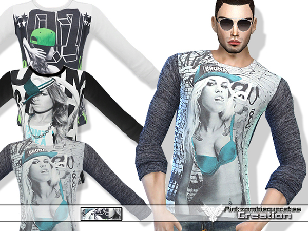 The Sims Resource: Graphic Tees Set 01 by Pinkzombiecupcake