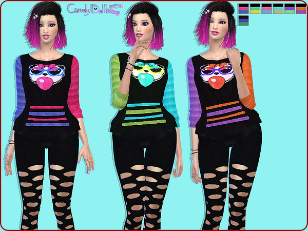The Sims Resource: CandyDoll Cute Panda Sweaters by DivaDelic06