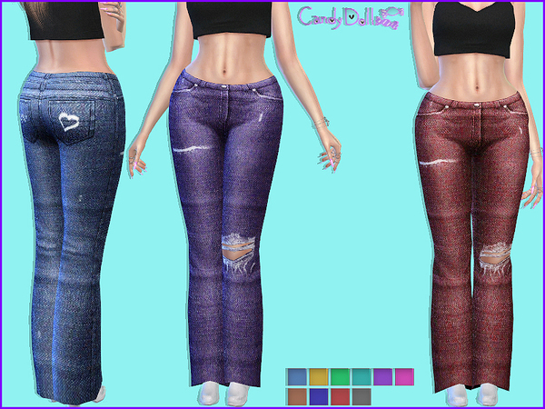 The Sims Resource: CandyDoll Dolly Jeans by DivaDelic06