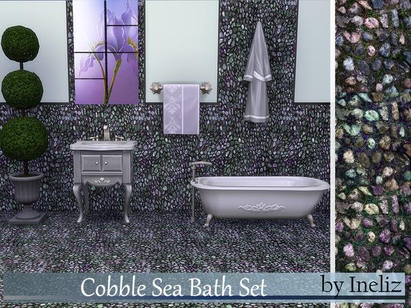 The Sims Resource: Cobble Sea Bath Set by Ineliz