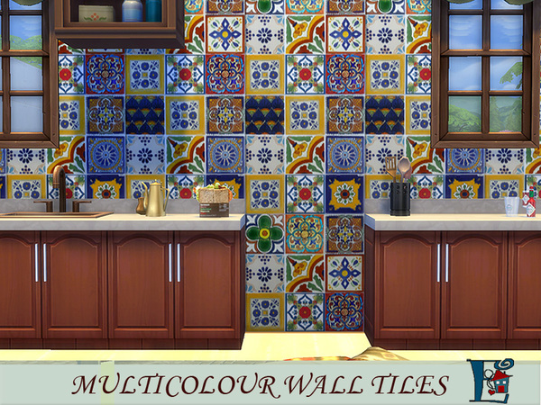 The Sims Resource: Multicolour wall tiles by evi