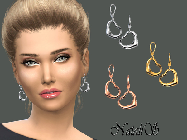 The Sims Resource: Heart drop earrings by NataliS