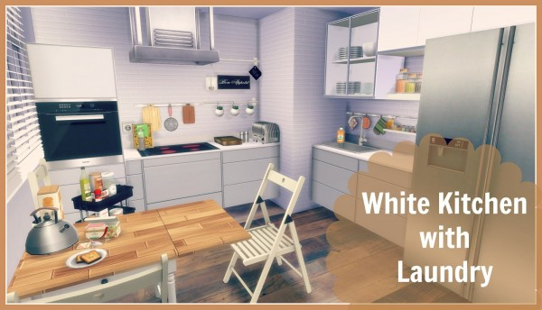 Dinha gamer white kitchen with laundry sims 4 downloads for Kitchen ideas sims 4