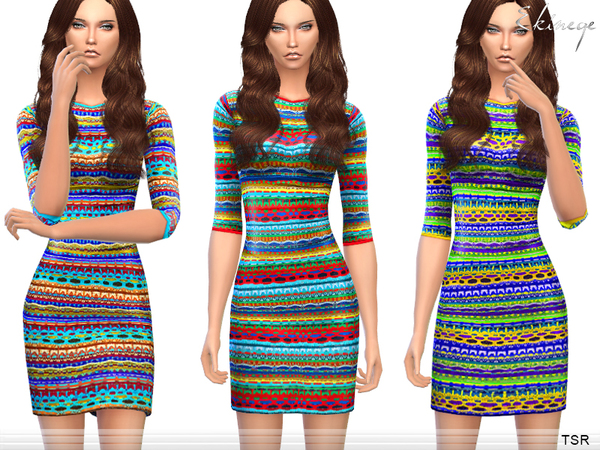 The Sims Resource: Multicolor Knit Dress by Ekinege