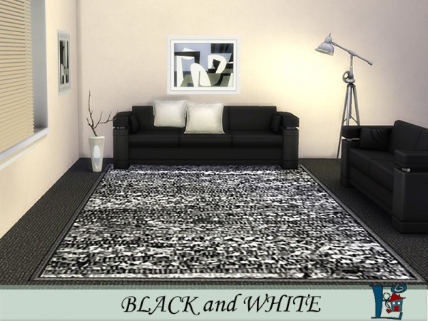 The Sims Resource: Black and White rugs by evi