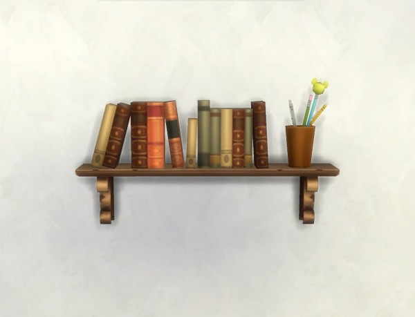 Mod The Sims Rustic Wall Bookshelf By Plasticbox Sims 4
