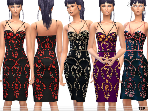 The Sims Resource: Flower Embroidered Dress by Ekinege