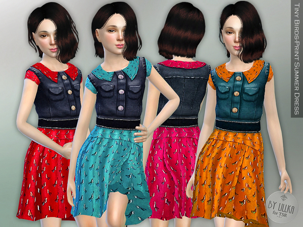 The Sims Resource: Tiny Birds Print Summer Dress by lillka