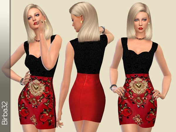 The Sims Resource: Embellished leather dress by Birba32