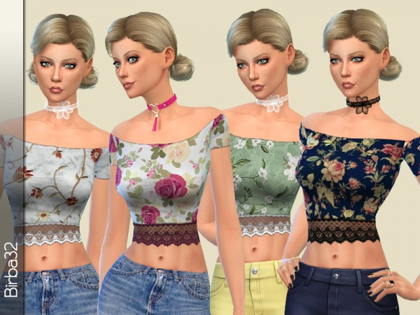 The Sims Resource: Textured Lace Top by Birba32