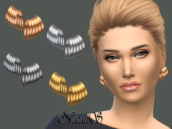The Sims Resource: Curved plate earrings by NataliS