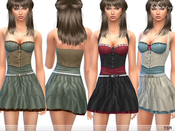 The Sims Resource: Pretty Top & Skirt   Set12 by ekinege