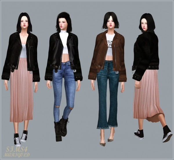 Sims4 Marigold Leather Jacket Acc Sims 4 Downloads