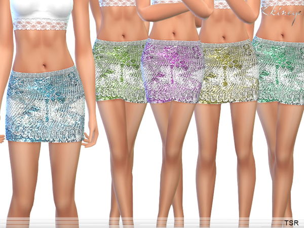 The Sims Resource: Metallic   Knit Mini Skirt by ekinege