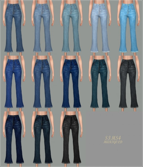 Sims4 Marigold Cropped Flare Jeans Sims 4 Downloads