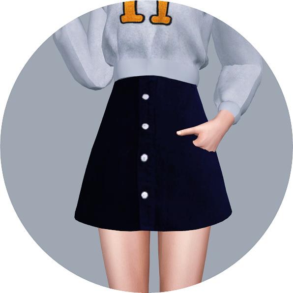 0d941095d28 SIMS4 Marigold  High Waist A-Line Skirt • Sims 4 Downloads